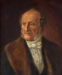 Urmakaren Carl Johan Hopp (1803-1885) - son till Catharina Andersdotter. Tavla målad av sonen Bruno Hoppe som finns i Ystads fornminnesförenings konstsamlingar. Foto: Roza Czulowska.