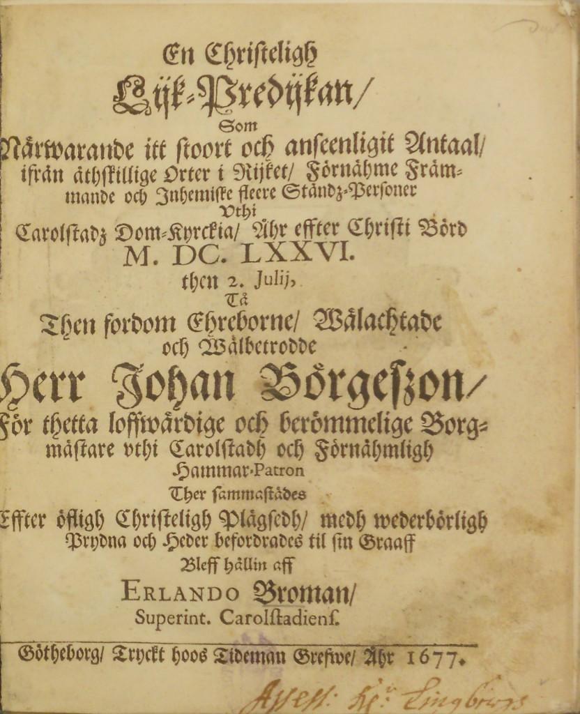 Likpredikan efter Johan Börjesson. Exemplar på Växjö Stadsbibliotek