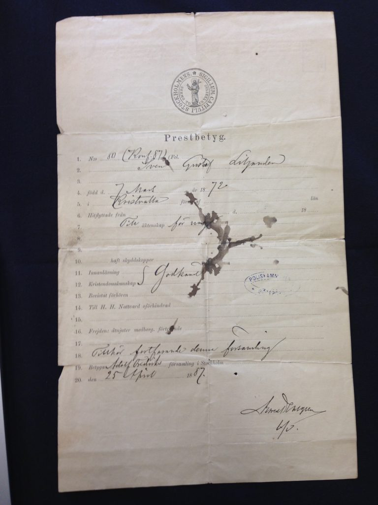 Prestbetyg - Moving certificate - front page